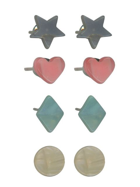 DIANA RESIN STUD EARRINGS PACK PINK HEART